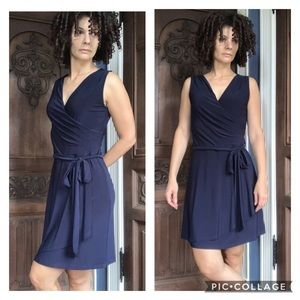 Last Tango Faux Wrap Navy Blue Dress XS